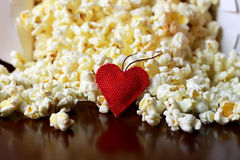 Popcorn stack with heart shape Stock Image