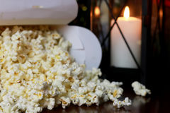 Popcorn stack with heart shape Royalty Free Stock Photography