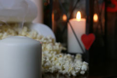 Popcorn stack with heart shape Stock Photos