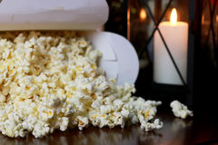 Popcorn stack with heart shape Royalty Free Stock Photo