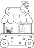 Popcorn stand coloring page Stock Photo