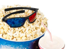 Popcorn and stereo glasses Stock Photos