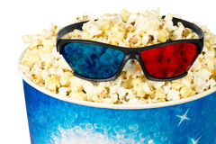 Popcorn and stereo glasses Royalty Free Stock Images