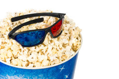 Popcorn and stereo glasses Royalty Free Stock Photo