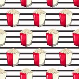 Popcorn is  in a strip wrapper box for your produce, an appetizer bucket when you watch movies. Pattern. Background Miniature fast food Vector illustration for Stock Photo
