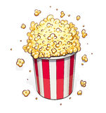 Popcorn in striped basket Royalty Free Stock Photography