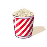 Popcorn in a striped box bucket snack when watching movies. Thumbnail fast food Vector Illustration for your project boundary Stock Photography
