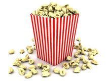 Popcorn in striped box Royalty Free Stock Photos