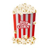 Popcorn in striped bucket box isolated on white background. Flat vector illustration EPS 10.  Stock Photo