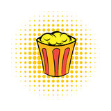 Popcorn in striped bucket comics icon Stock Images