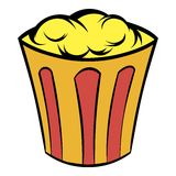 Popcorn in striped bucket icon cartoon Stock Photos