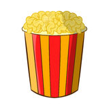 Popcorn in striped bucket icon, cartoon style Royalty Free Stock Photo