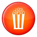 Popcorn in striped bucket icon, flat style Stock Photo