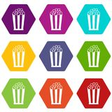 Popcorn in striped bucket icon set color hexahedron. Popcorn in striped bucket icon set many color hexahedron isolated on white vector illustration Stock Photo