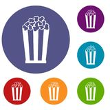Popcorn in striped bucket icons set Royalty Free Stock Image