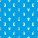 Popcorn in striped bucket pattern seamless blue. Popcorn in striped bucket pattern repeat seamless in blue color for any design. Vector geometric illustration Royalty Free Stock Image