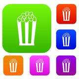 Popcorn in striped bucket set collection. Popcorn in striped bucket set icon in different colors isolated vector illustration. Premium collection Royalty Free Stock Photos