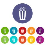Popcorn in striped bucket set icons Stock Images