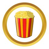 Popcorn in striped bucket vector icon Stock Photos