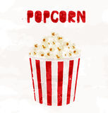 Popcorn in striped bucket on white background. Vector Stock Photo