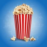 Popcorn. Striped carton bowl filled of popcorn vector illustration
