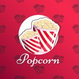 Popcorn is  in a striped logo logo emblem for your produce, an appetizer bucket when you watch movies. Label. Wrap Miniature fast food Vector illustration for Stock Photo