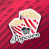 Popcorn is  in a striped logo logo emblem for your produce, an appetizer bucket when you watch movies. Label. Wrap Miniature fast food Vector illustration for Royalty Free Stock Photography