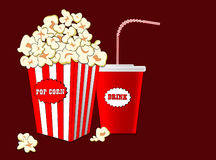 Popcorn in striped paper box, soda drink takeaway set. Cinema design in flat style, Vector illustration. Stock Photos