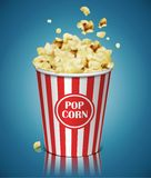 Popcorn in a striped plastic cup. Highly detailed illustration vector illustration