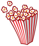 Popcorn in a striped tub. Bags full of baked popcorn Royalty Free Stock Photos