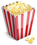 Popcorn in a striped tub Stock Images