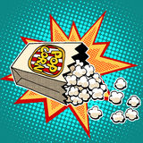 Popcorn sweet and savory corn. Pop art retro style. Fast food in the cinema. Healthy and unhealthy foods. Childhood and entertainment Royalty Free Stock Photo
