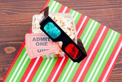 Popcorn on the table movie tickets, 3D glasses top view. Popcorn on  table movie tickets, 3D glasses top view Royalty Free Stock Image