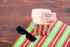 Popcorn on the table movie tickets, 3D glasses top view. Popcorn on  table movie tickets, 3D glasses top view Royalty Free Stock Photos
