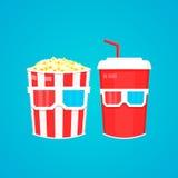 Popcorn, take-$l*away και τρισδιάστατα γυαλιά κινηματογράφων σόδας Διανυσματική επίπεδη απεικόνιση σχεδίου Στοκ Εικόνες