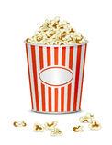 Popcorn. Tasty popcorn on a white background, illustration royalty free illustration