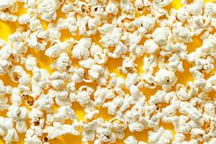 Popcorn texture top view. pattern of popcorn close up, background.  stock photography