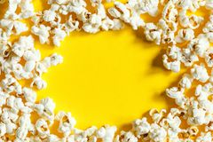 Popcorn texture top view with space for text. pattern of popcorn close up, background royalty free stock photos