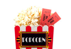 Popcorn and Tickets. Isolated Popcorn Bucket and Tickets Royalty Free Stock Photo