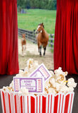 Popcorn and tickets at the movies Royalty Free Stock Images