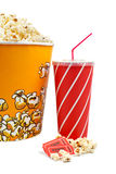 Popcorn, tickets and soda. Popcorn bucket with two tickets and soda on white background Royalty Free Stock Photography