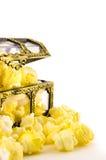 Popcorn in treasure box Royalty Free Stock Photo