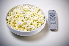 Popcorn TV Fotografia Stock Libera da Diritti