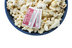 Popcorn and two movie tickets. Bowl with popcorn and two movie tickets Stock Photography