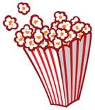 Popcorn in una vasca a strisce Fotografie Stock Libere da Diritti