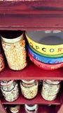 Popcorn und Bohnen Stockfotos