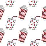 Popcorn und Getränk, nahtlos Lizenzfreie Stockfotos