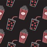 Popcorn und Getränk, nahtlos Stockfoto