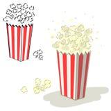 Popcorn vector. Bucket of popcorn illustration set + vector eps file royalty free illustration