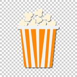 Popcorn vector icon in flat style. Cinema food illustration on i. Solated transparent background. Popcorn sign concept Royalty Free Stock Photos